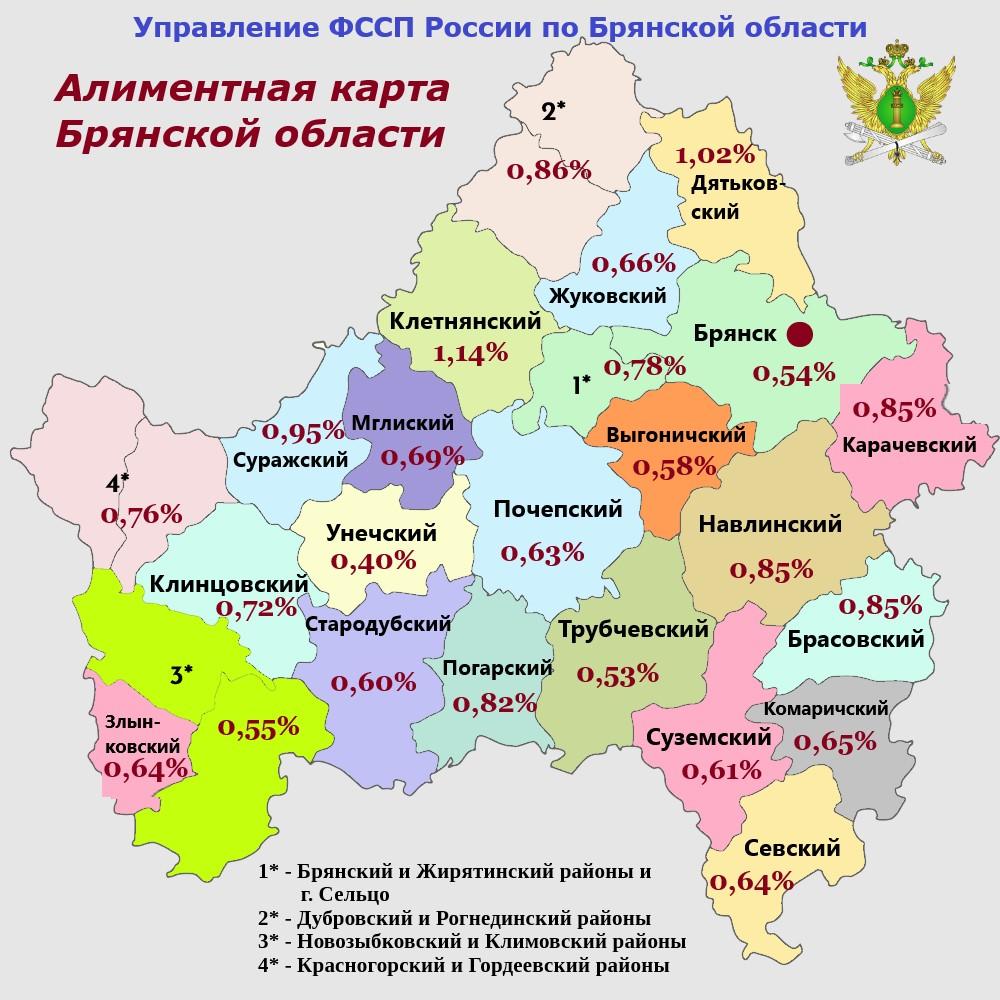 Брянские судебные приставы выпустили «алиментную карту» региона
