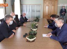 Брянский губернатор встретился с послом РФ в Беларуси Евгением Лукьяновым